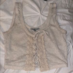 Cream Lace Tied Up Crop Top
